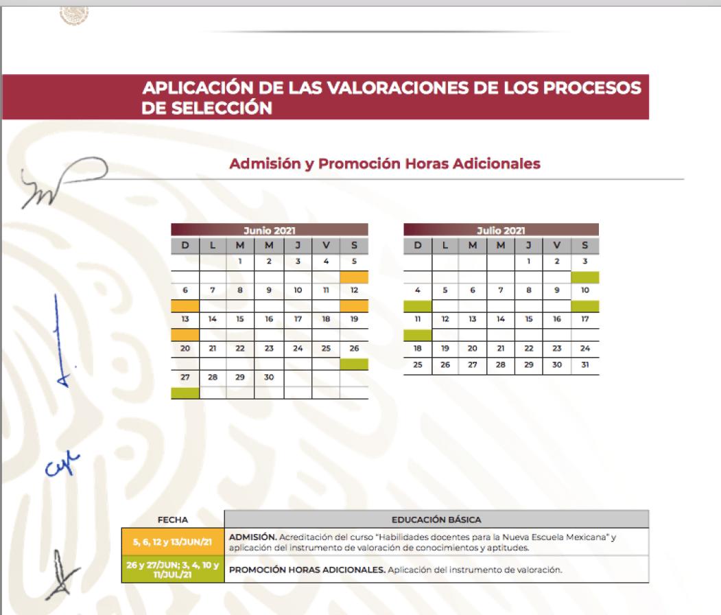 Calendario Admisión y promoción horas adicionales (SEP)