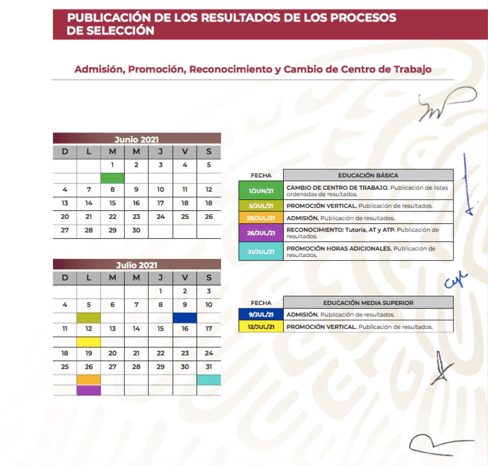 Calendario Admisión, promoción, reconocimiento y cambio de centro de trabajo (SEP)