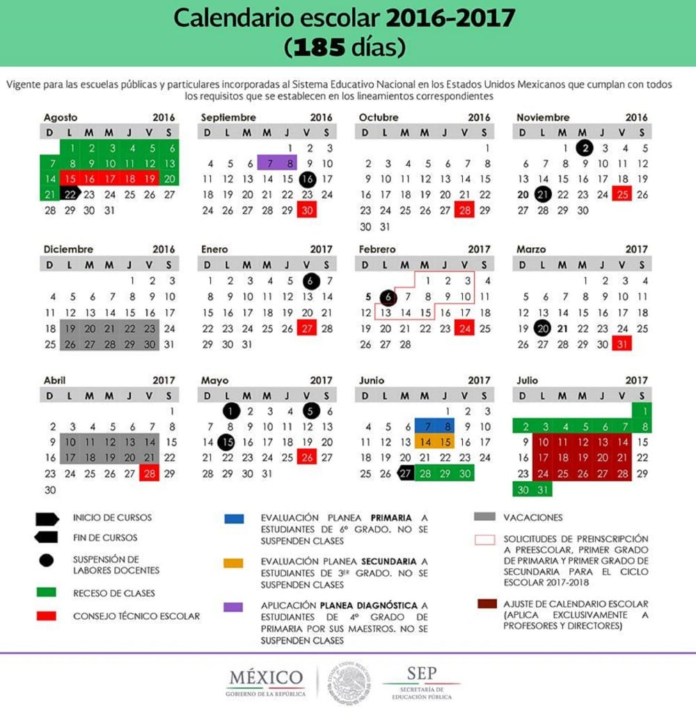 Sep publica los 2 calendarios para el ciclo escolar 2016 2017 for Ciclo lunar julio 2016