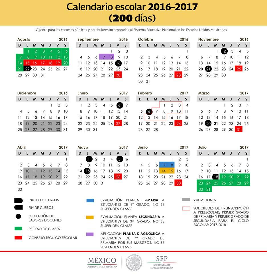 SEP Publica Los 2 Calendarios Para El Ciclo Escolar 2016 -2017
