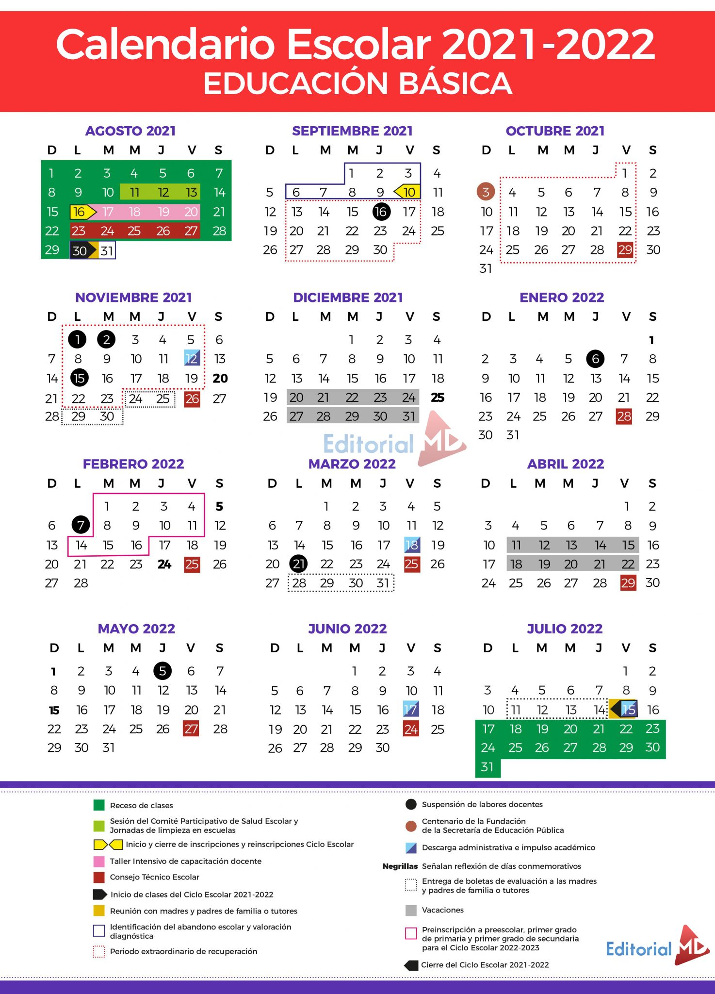 Calendario Escolar 2021-2022 de la SEP (200 días)MD