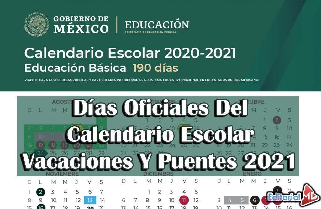 Calendario oficial de la SEP 2021