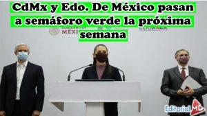 CdMx y Edo. De México pasan a semáforo verde la próxima semana
