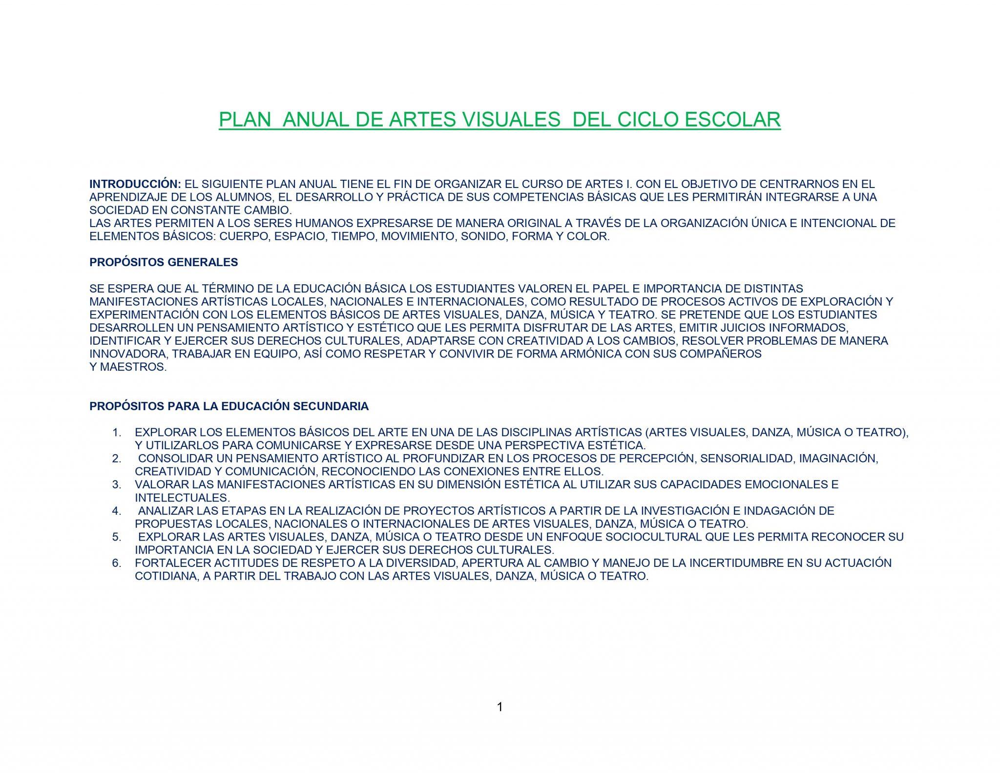 DOSIFICACIÓN ARTES VISUALES 1 Trimestral 01