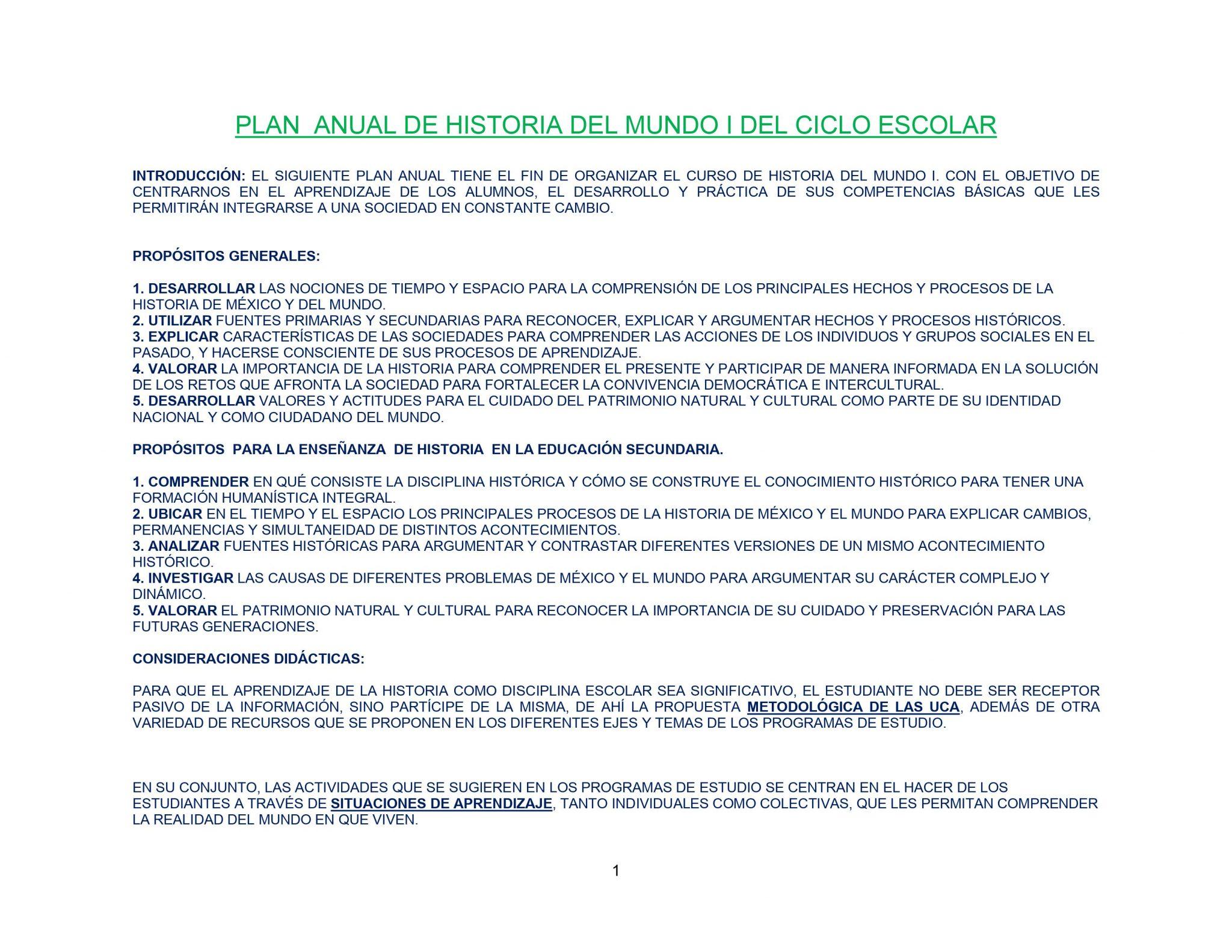 DOSIFICACIÓN DE HISTORIA 1 TRIMESTRAL 01