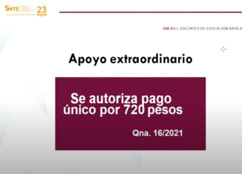 Docentes Recibirán 720 pesos como Bono