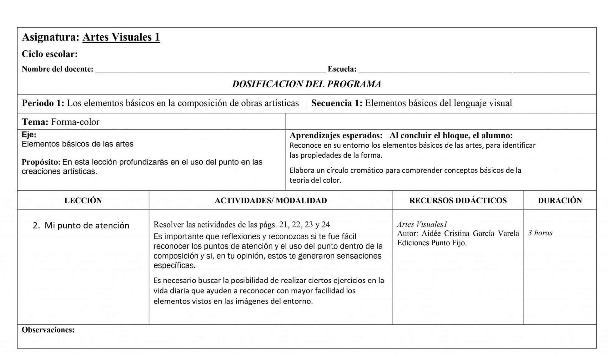 Dosificación Artes Visuales 1 Secundaria 02