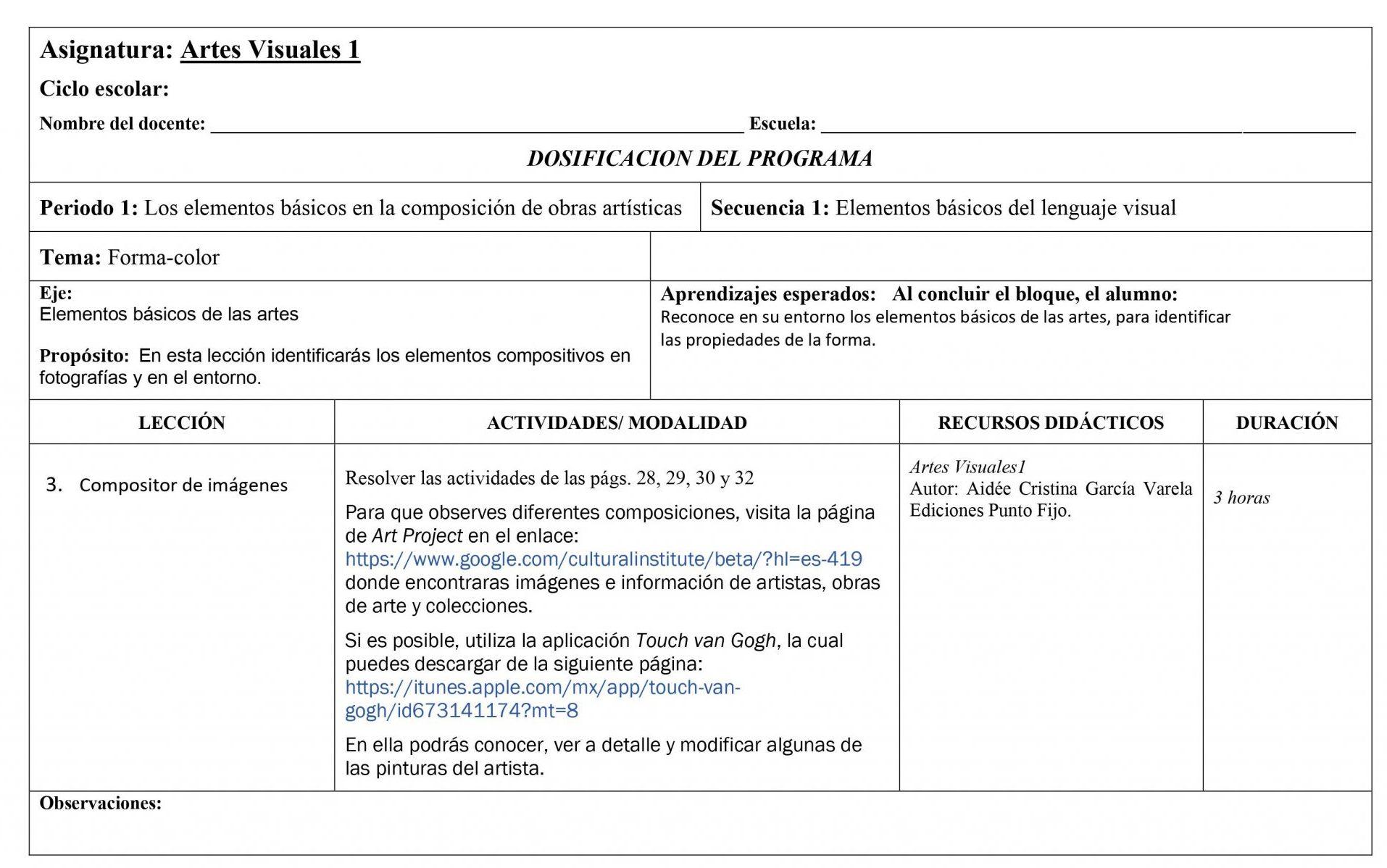 Dosificación Artes Visuales 1 Secundaria 03