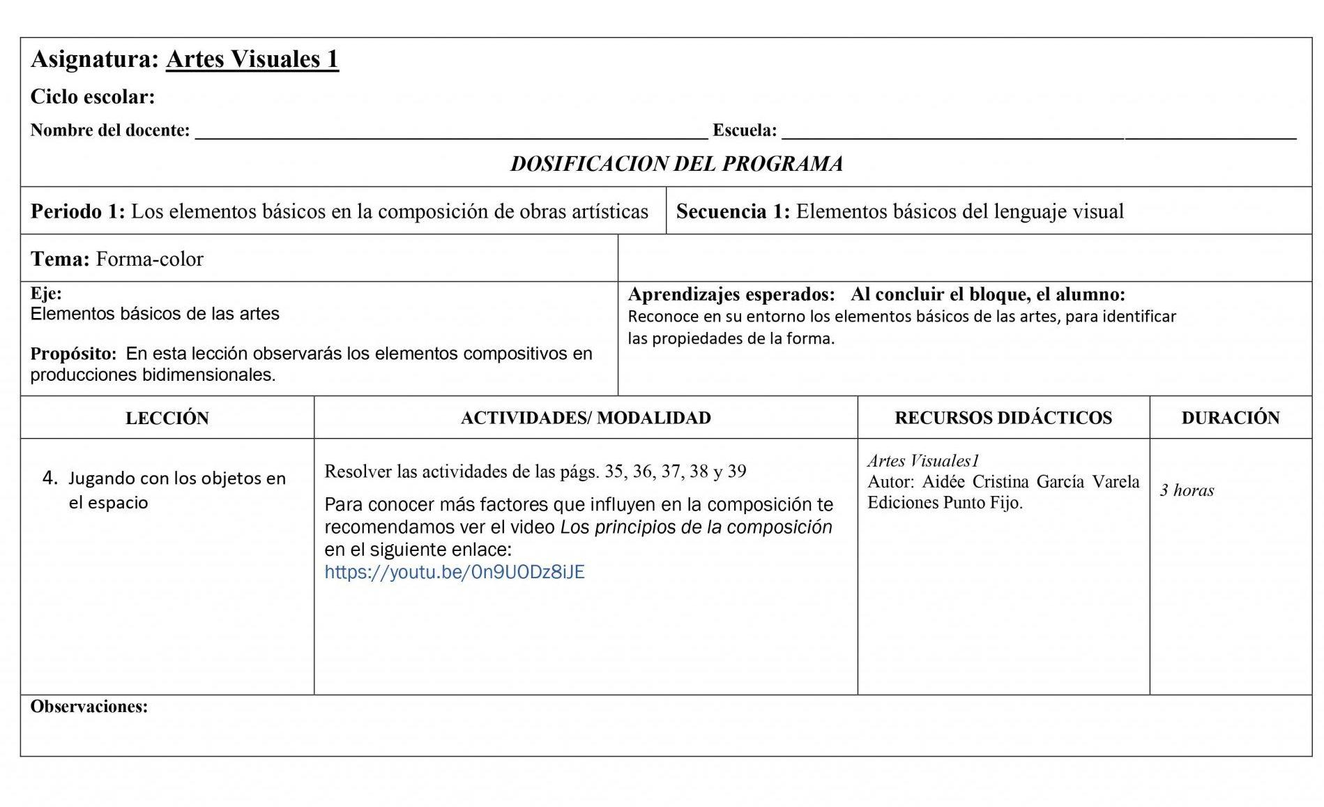 Dosificación Artes Visuales 1 Secundaria 04