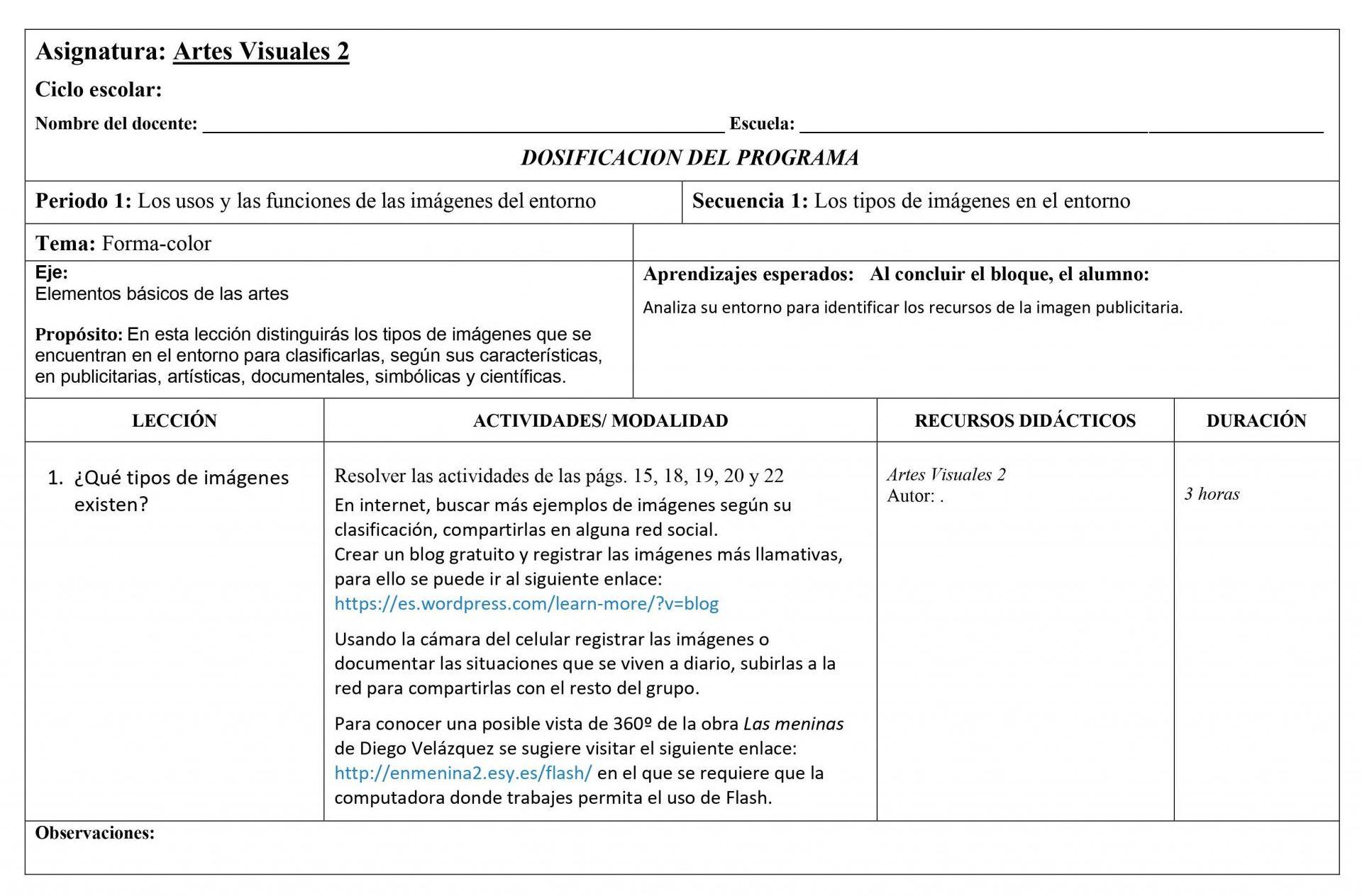 Dosificación Artes Visuales 2 Secundaria (Nuevo Modelo Educativo) 1er. Trimestre 01