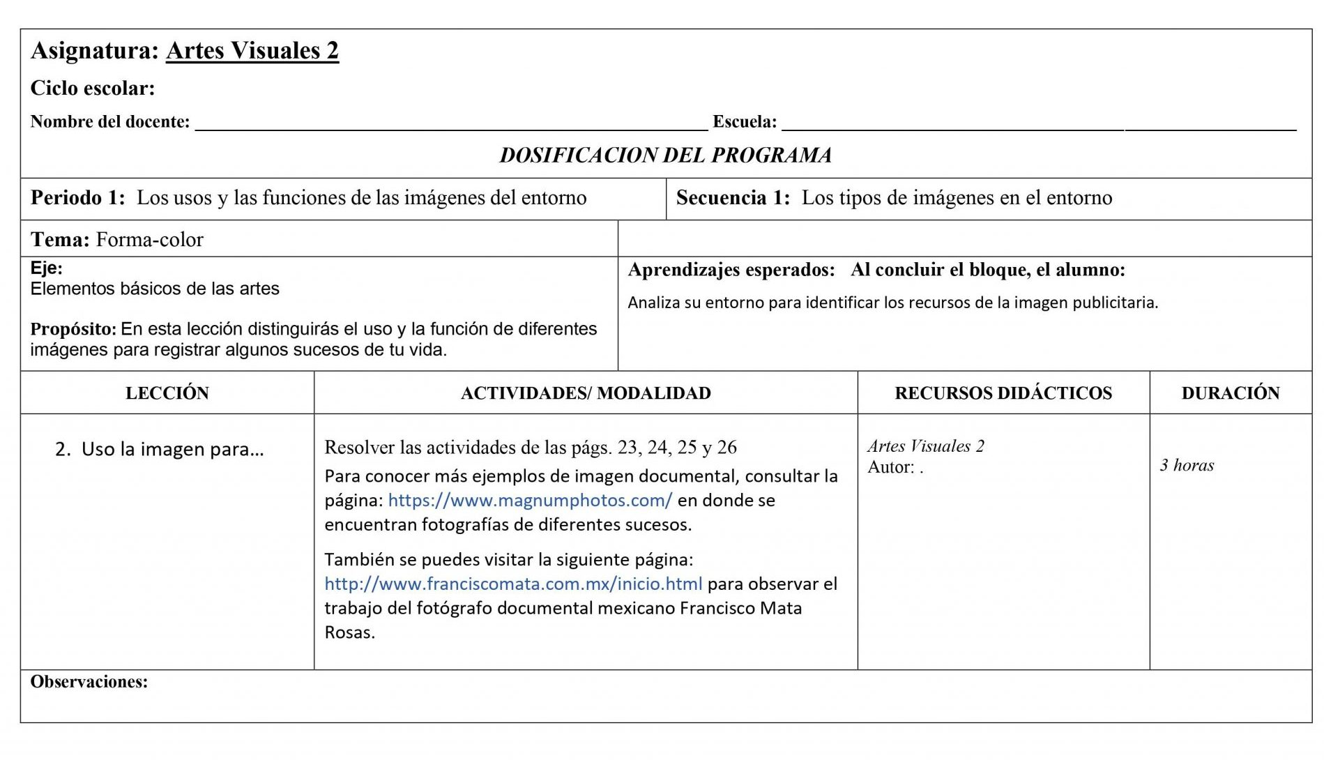 Dosificación Artes Visuales 2 Secundaria (Nuevo Modelo Educativo) 1er. Trimestre 02