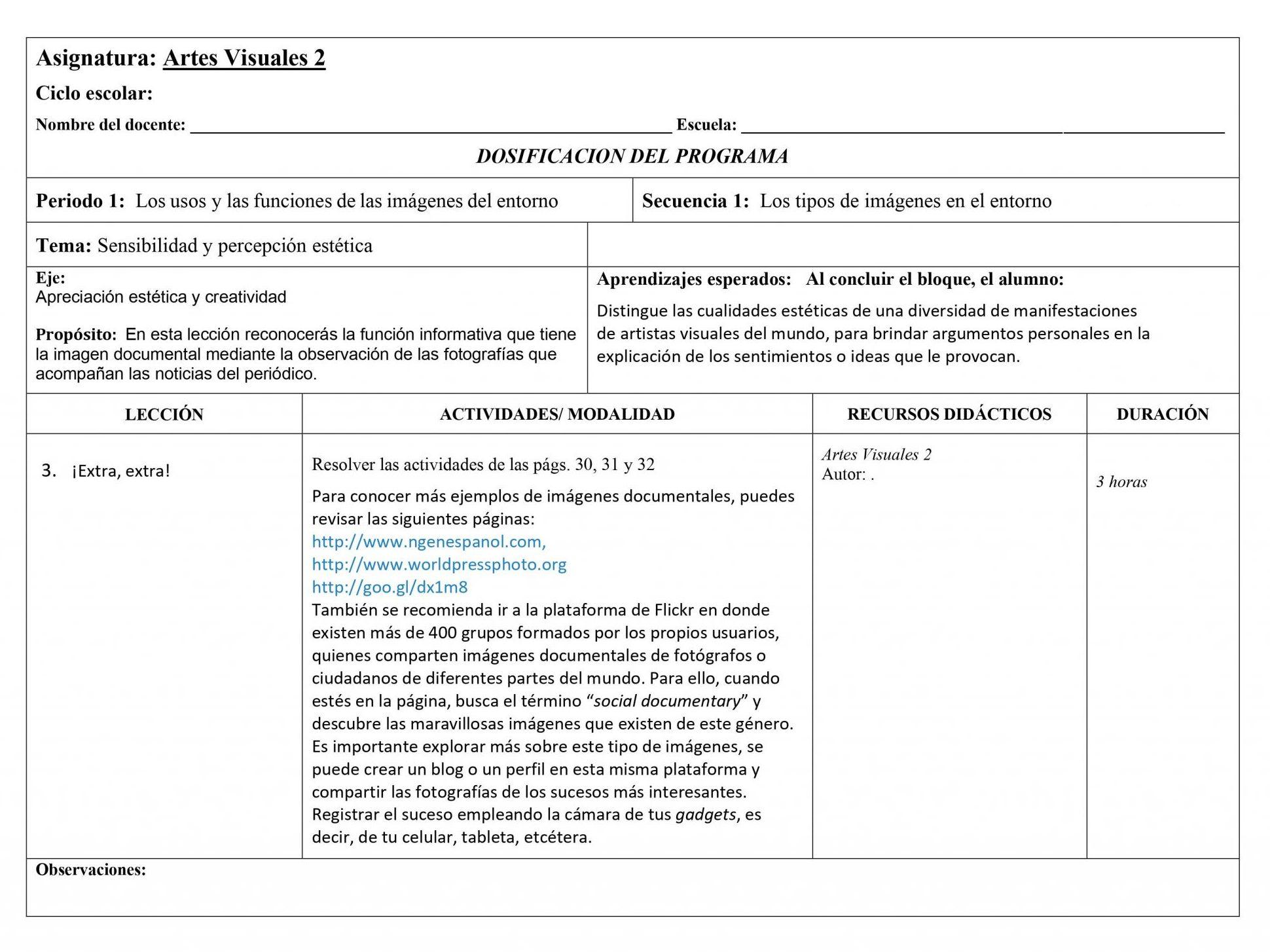 Dosificación Artes Visuales 2 Secundaria (Nuevo Modelo Educativo) 1er. Trimestre 03