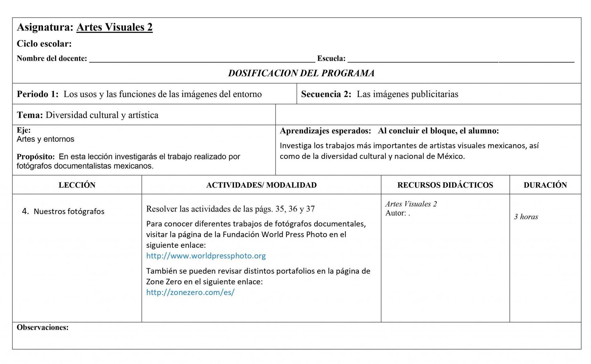 Dosificación Artes Visuales 2 Secundaria (Nuevo Modelo Educativo) 1er. Trimestre 04