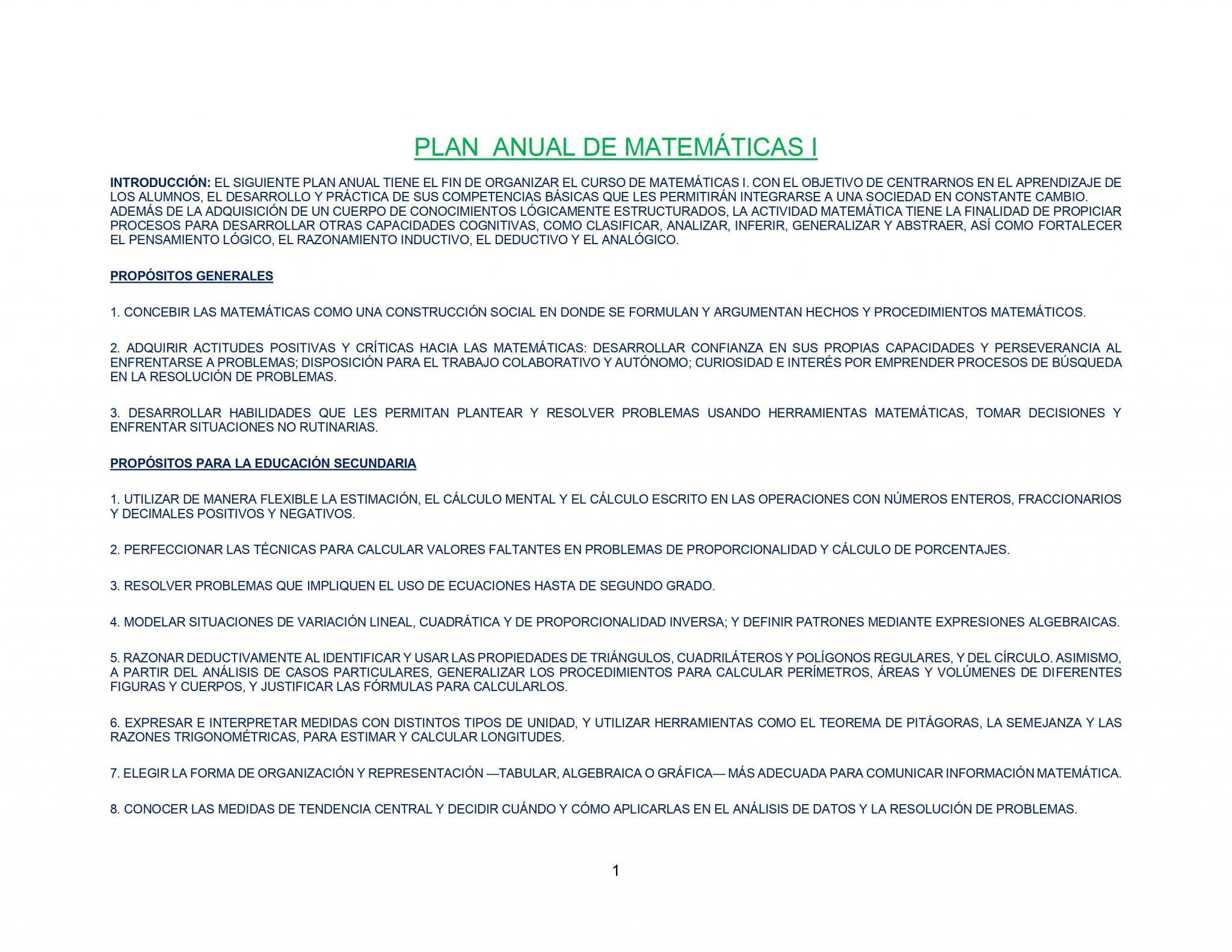 Dosificación Matemáticas Secundaria 1 (Trimestral) 01