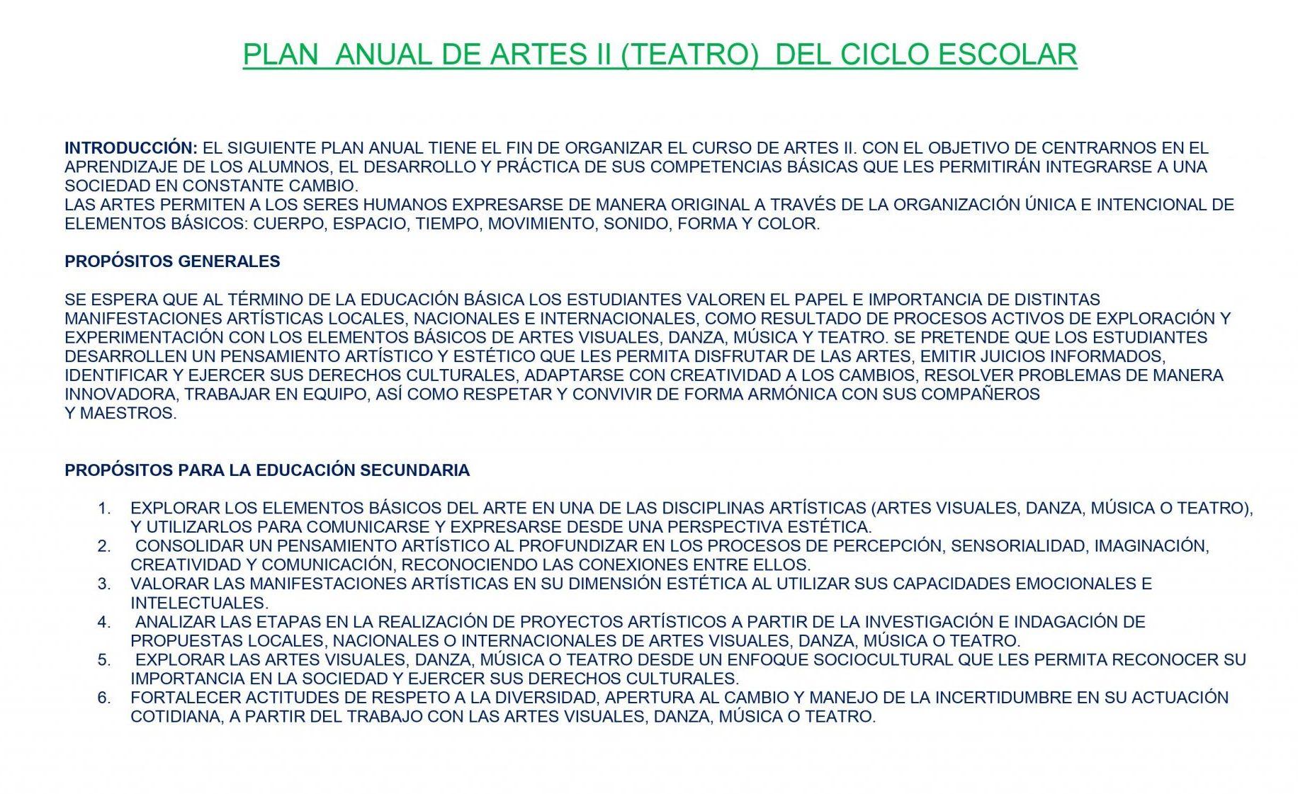Dosificación de Artes Teatro 2 01