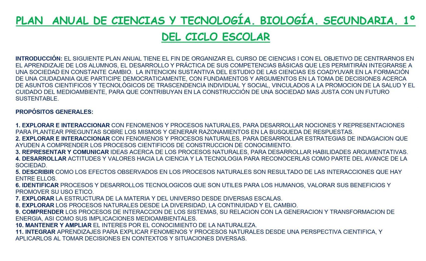 Dosificacón de Biologia Secundaria (Los 3 Trimestres) 01