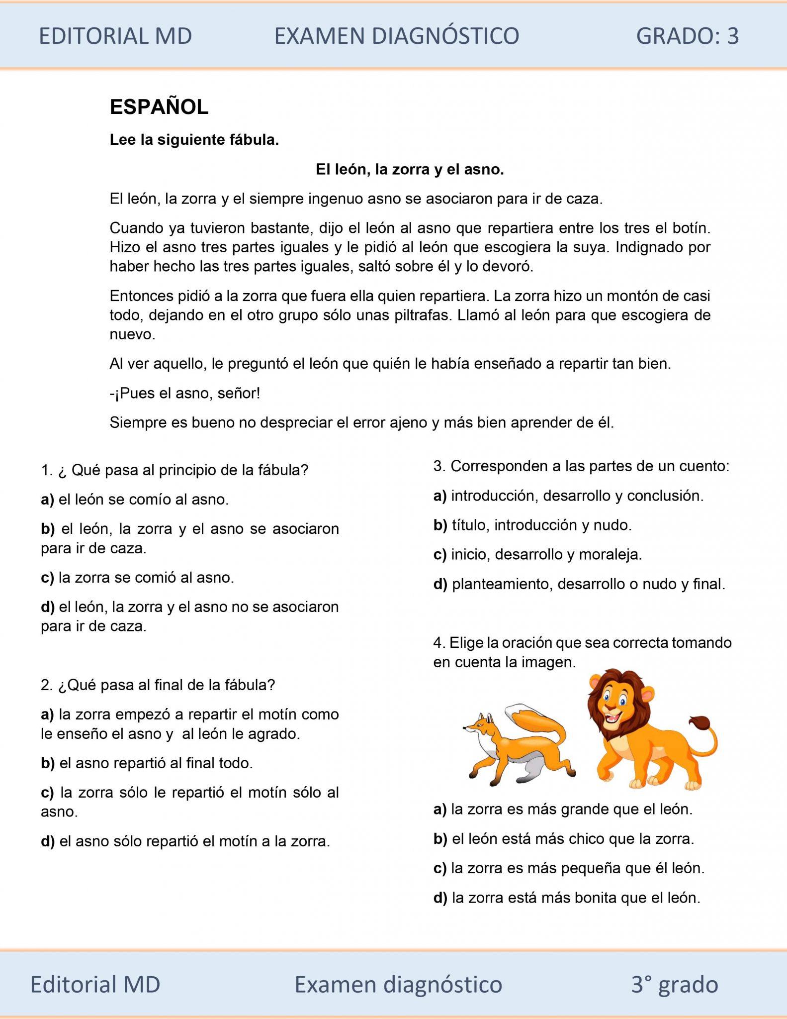 EJEMPLO DE EVALUACIÓN DIAGNÓSTICA 3ER GRADO 02