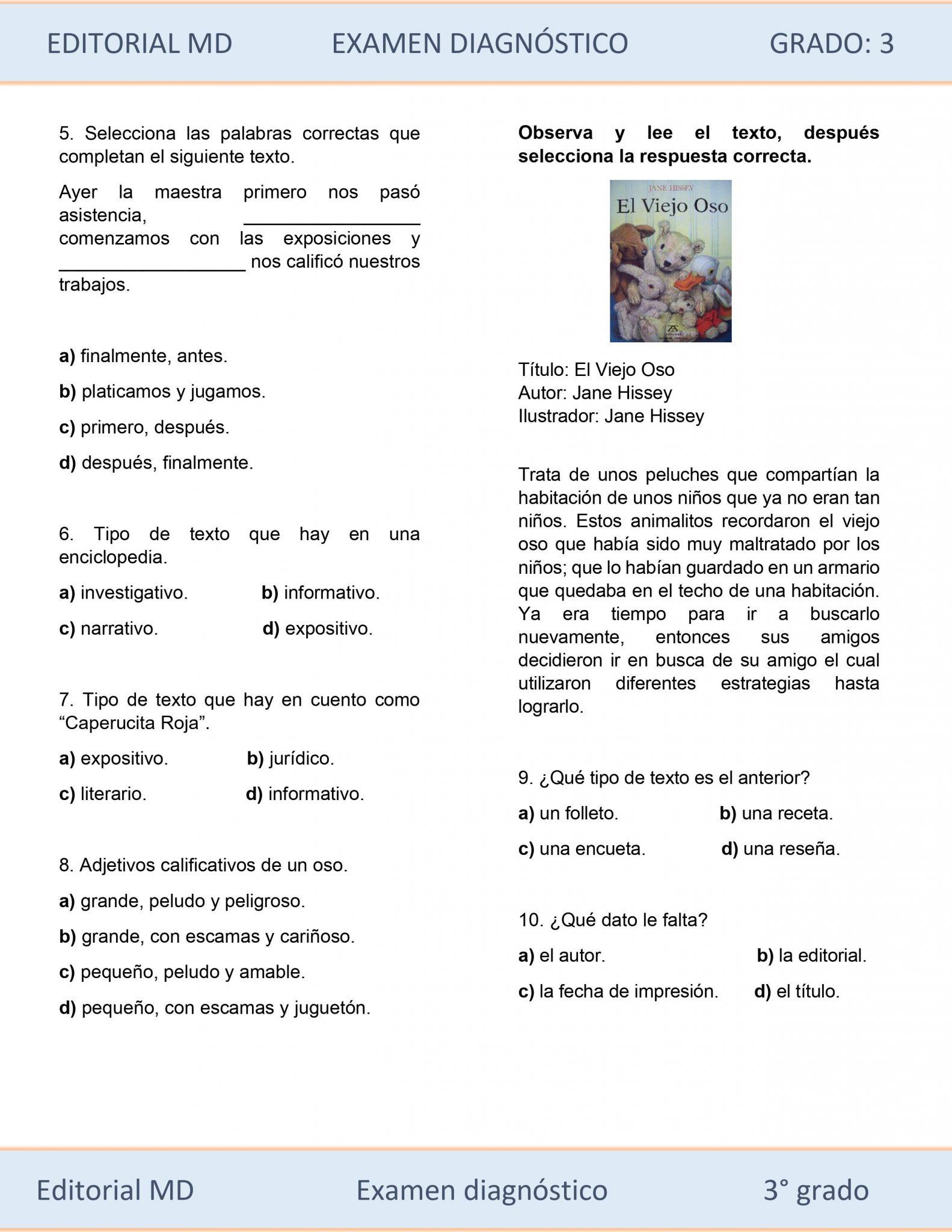 EJEMPLO DE EVALUACIÓN DIAGNÓSTICA 3ER GRADO 03
