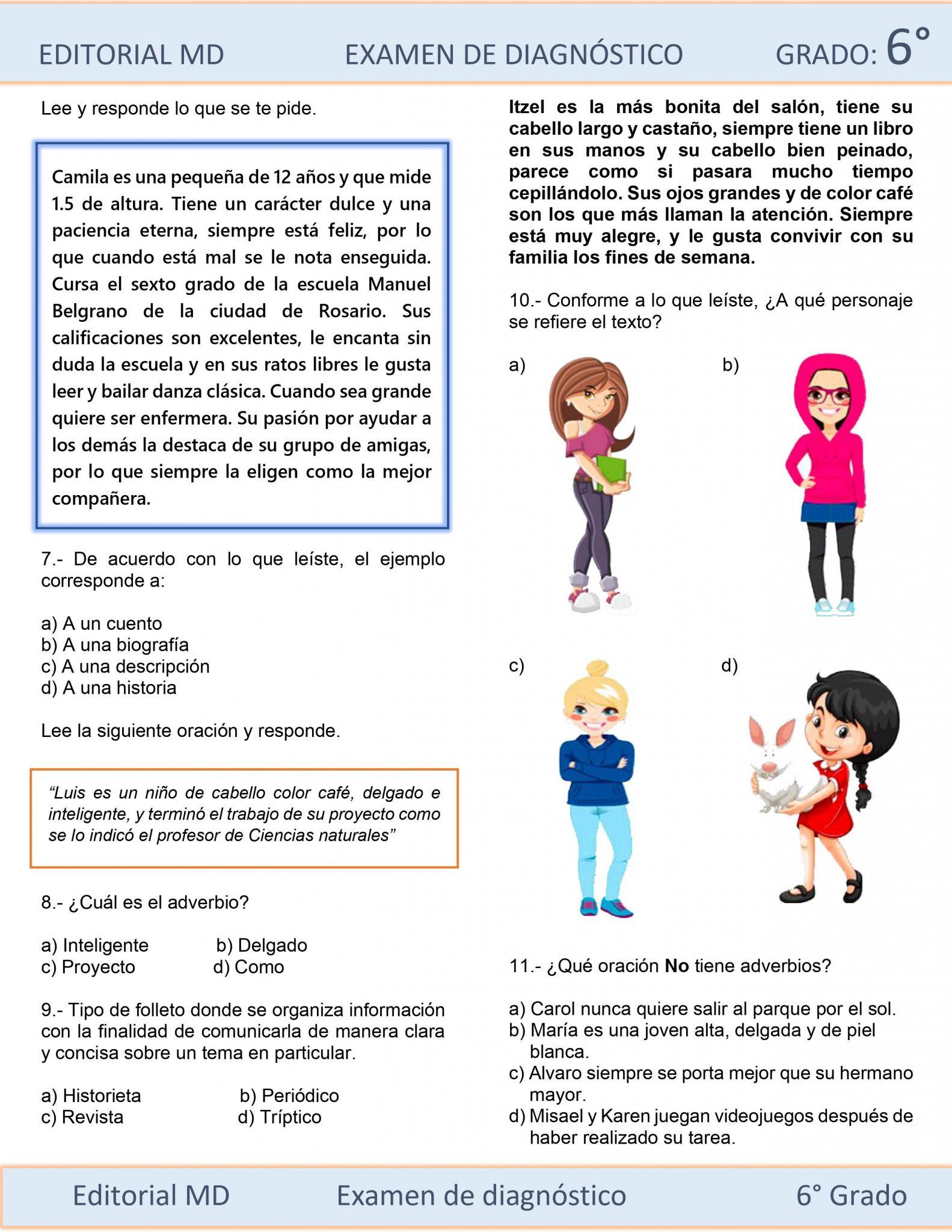 EJEMPLO DE EVALUACIÓN DIAGNÓSTICA 6 GRADO DE PRIMARIA 03