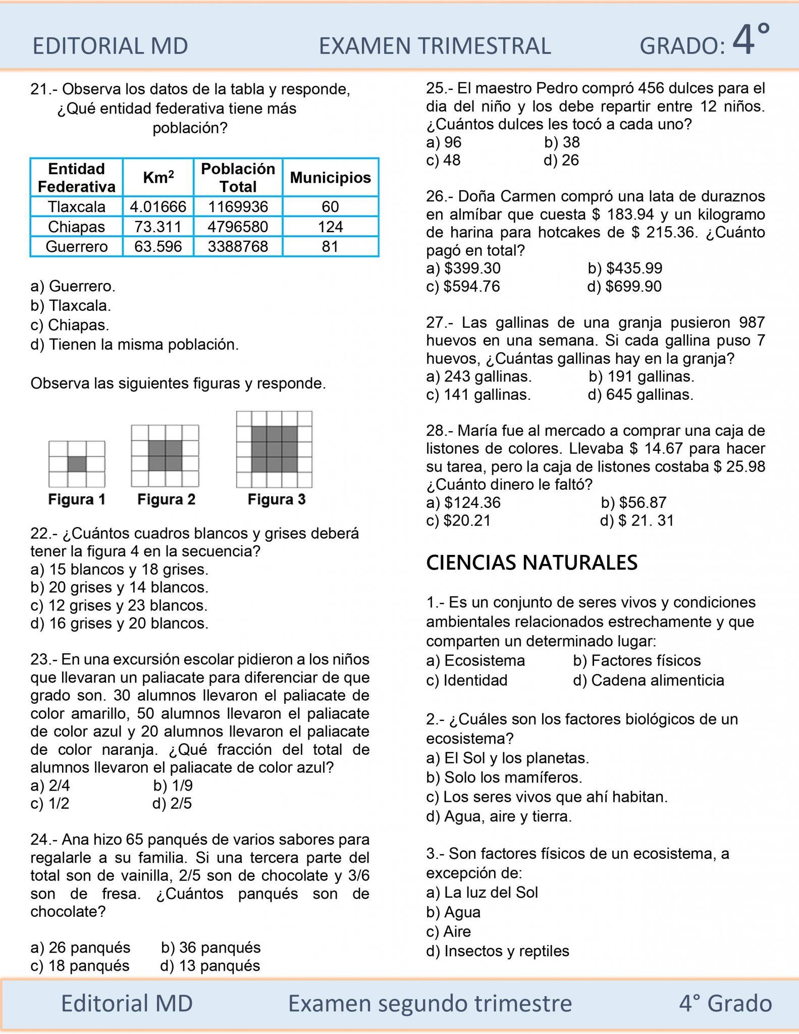 EJEMPLO EXAMEN DE PRIMARIA CUARTO GRADO 04
