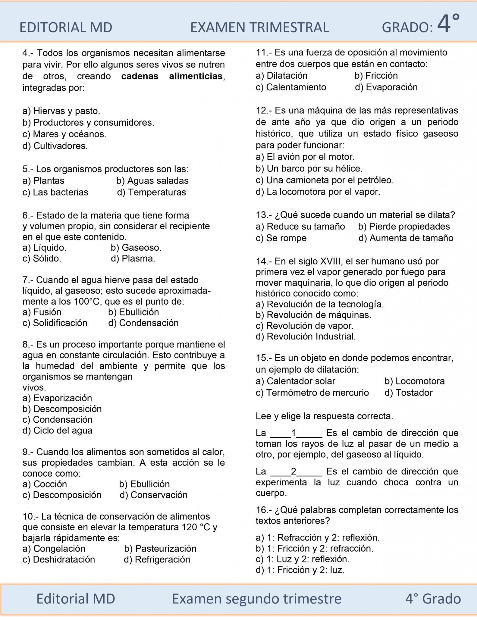 EJEMPLO EXAMEN DE PRIMARIA CUARTO GRADO 05