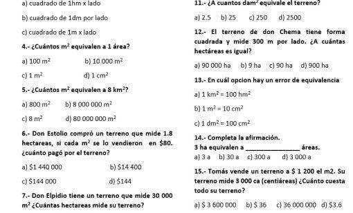 Examen 5° Grado Manejo de multiplos