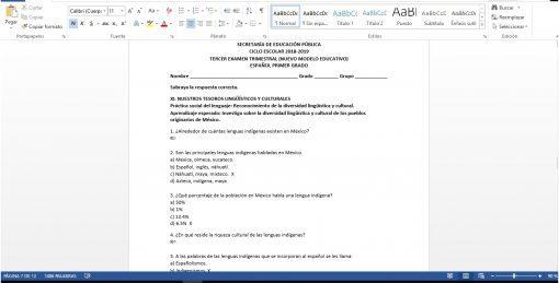Examen Trimestral Español Tercer Trimestre 1er Grado