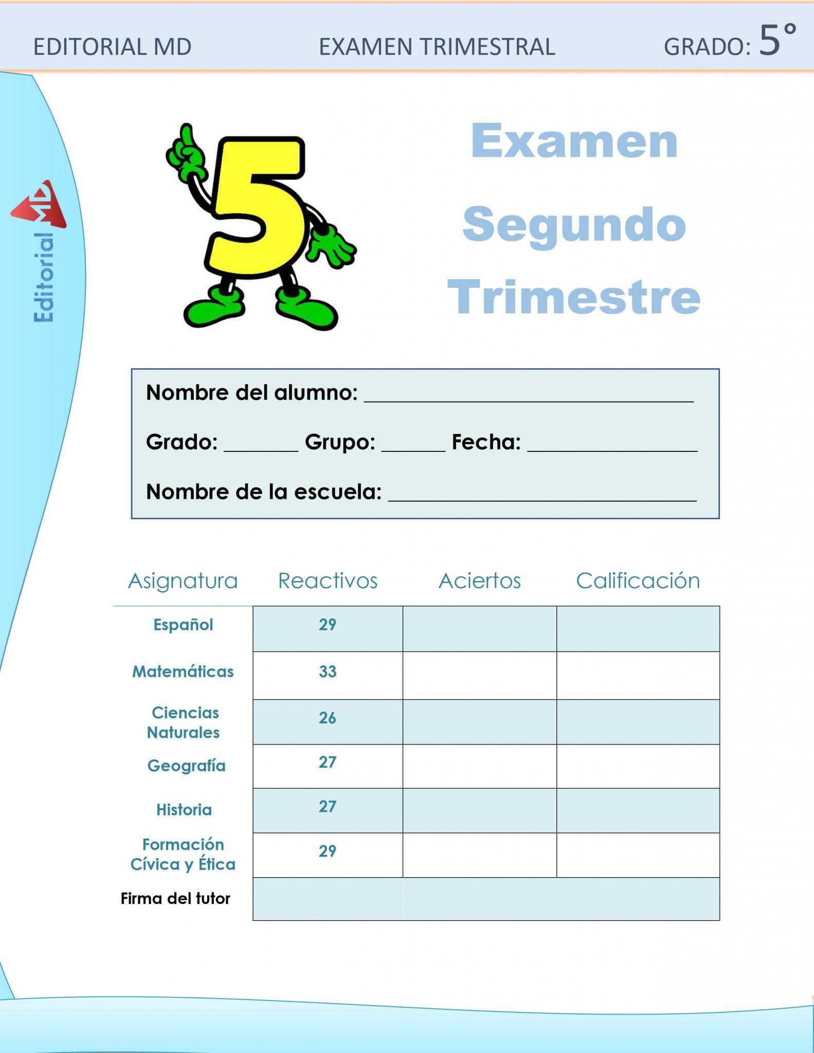 Ejemplo Examen de Quinto Grado 01