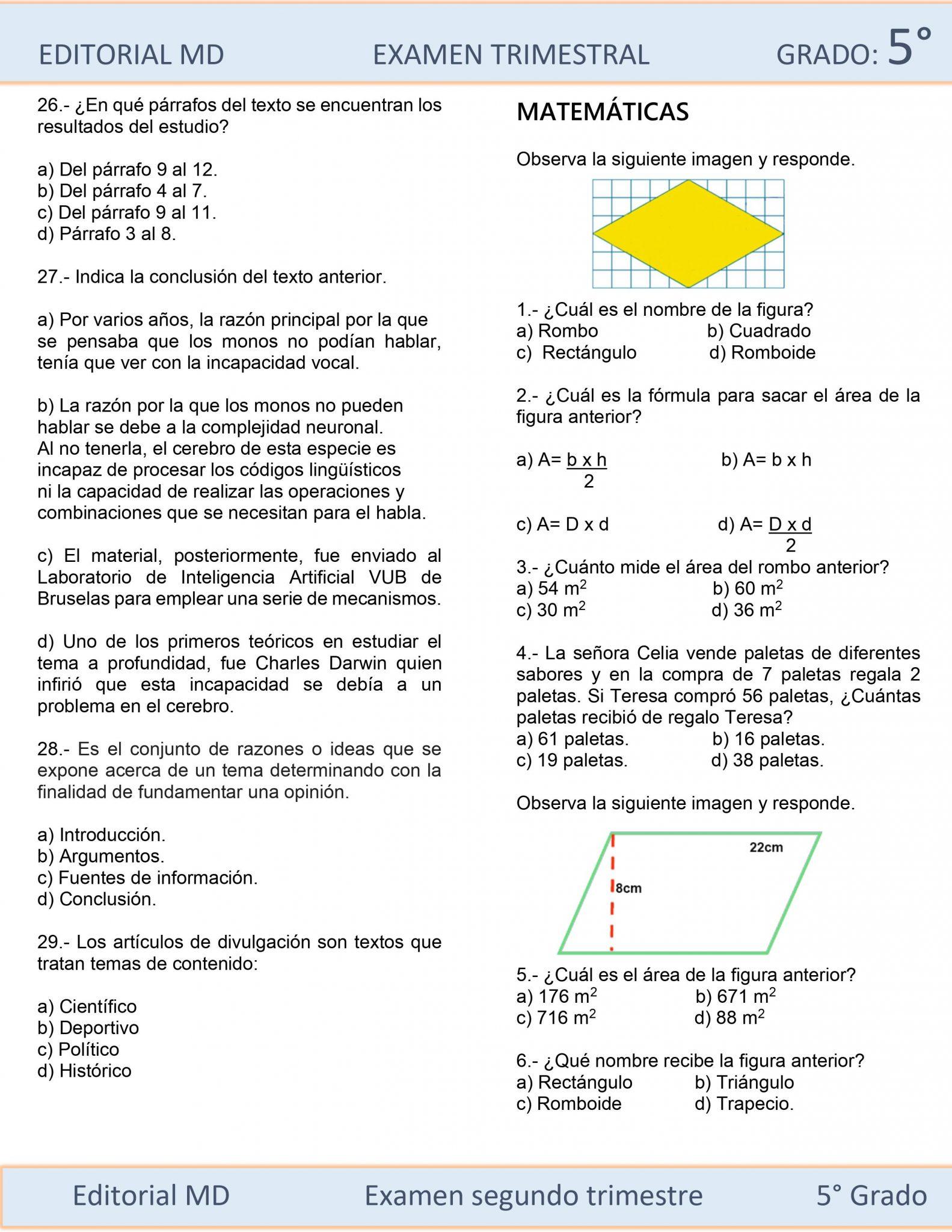 Ejemplo Examen de Quinto Grado 02