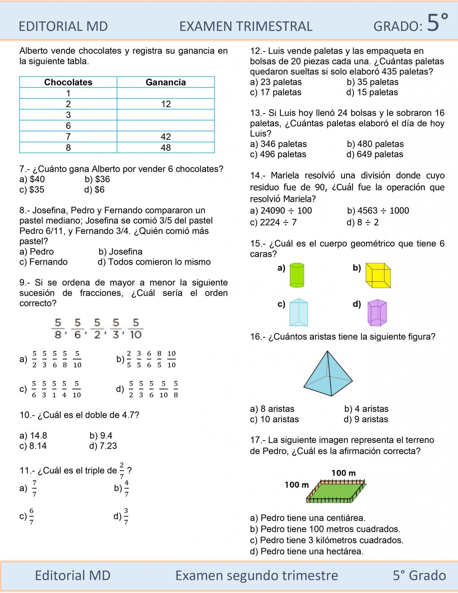 Ejemplo Examen de Quinto Grado 03