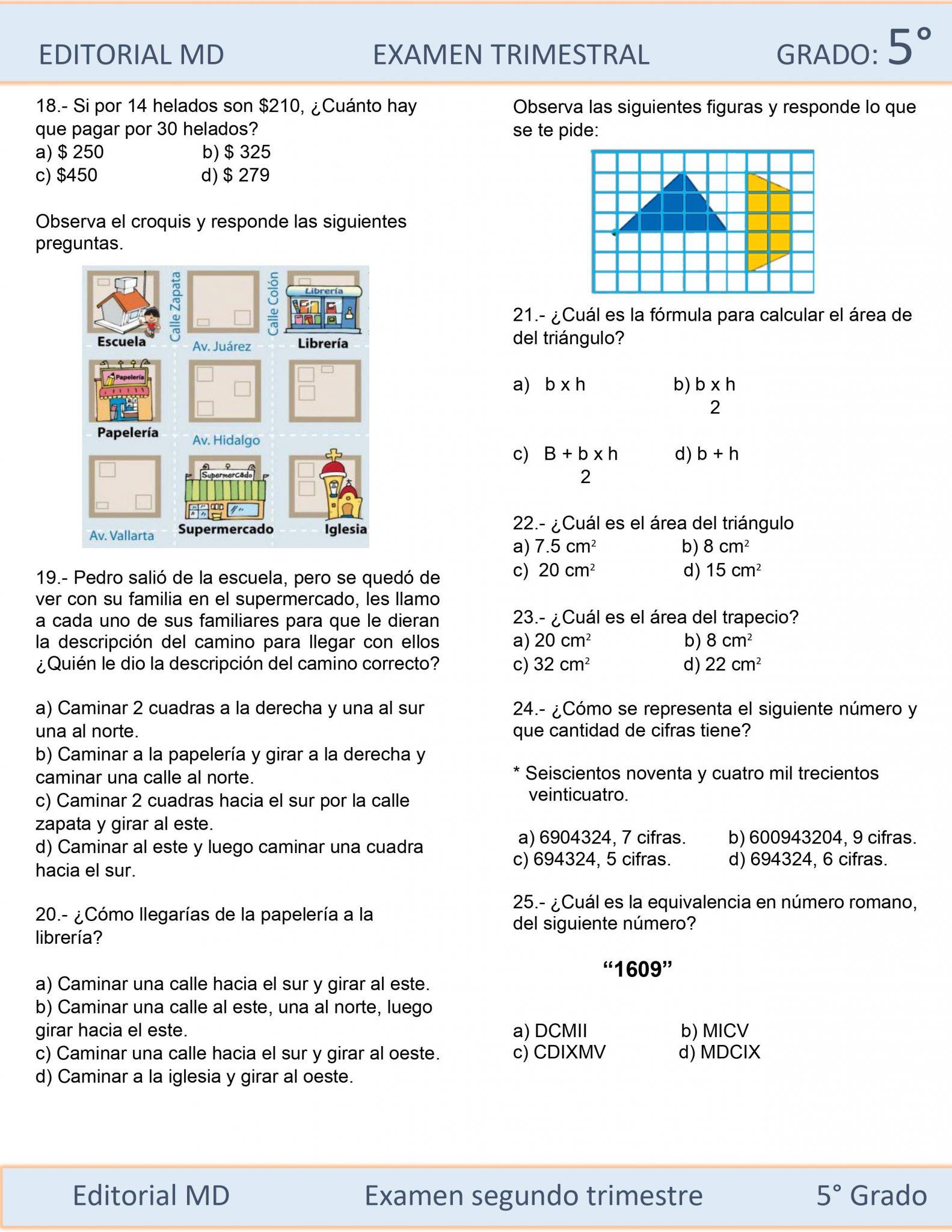 Ejemplo Examen de Quinto Grado 04