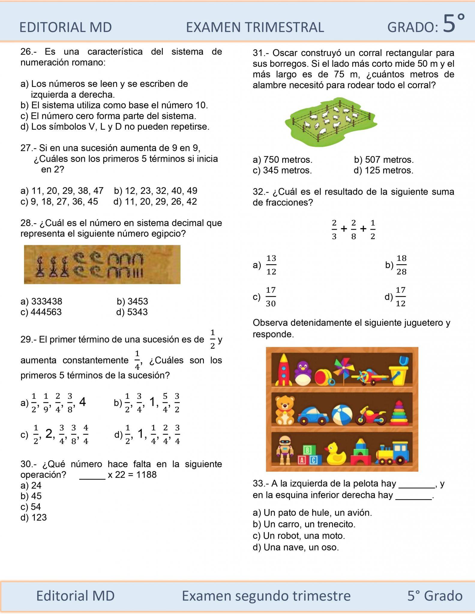 Ejemplo Examen de Quinto Grado 05