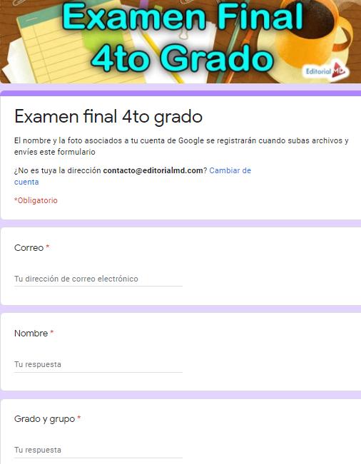 Ejemplo Exámenes en Google Forms 4to grado01