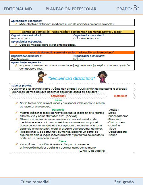 Ejemplo planeacion curso remedial para preescolar