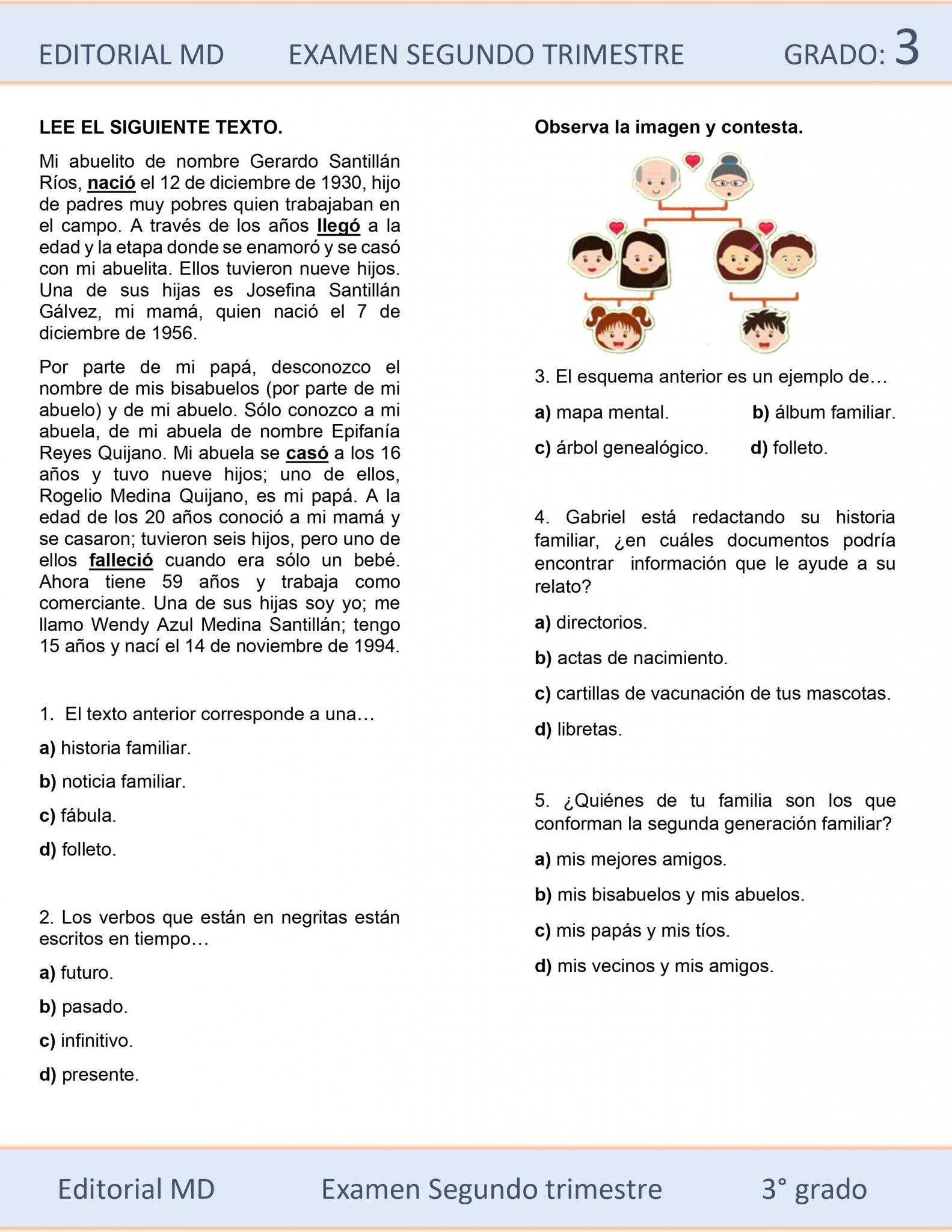 Ejemplo de exámenes de Tercer Grado de Primaria 02