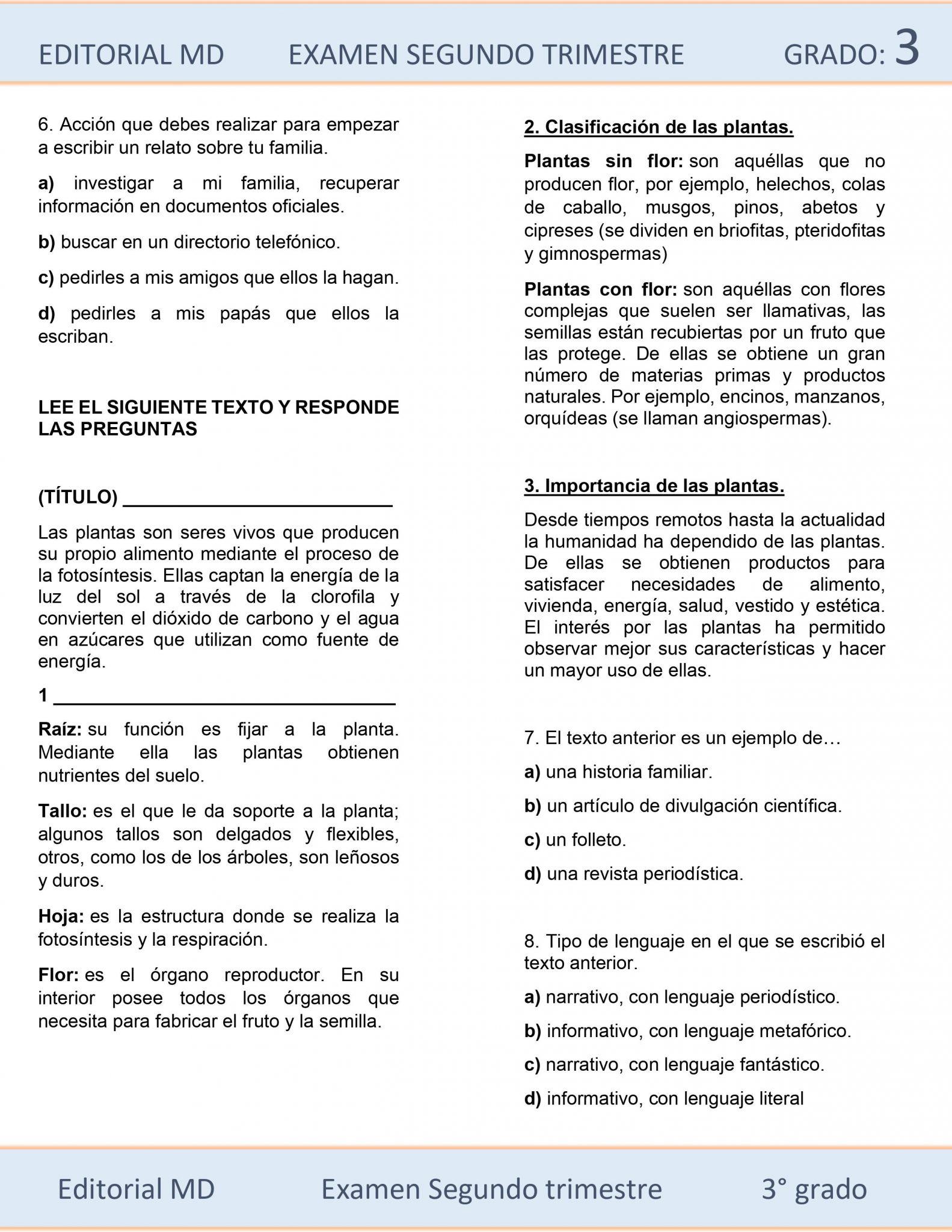 Ejemplo de exámenes de Tercer Grado de Primaria 03