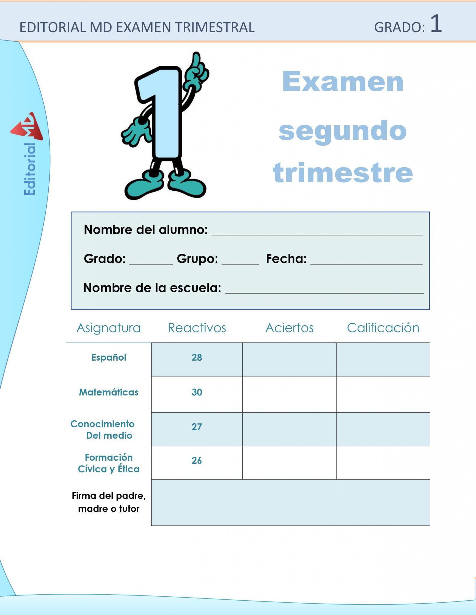 Ejemplo de los Exámenes que incluye el primer grado de Primaria 01