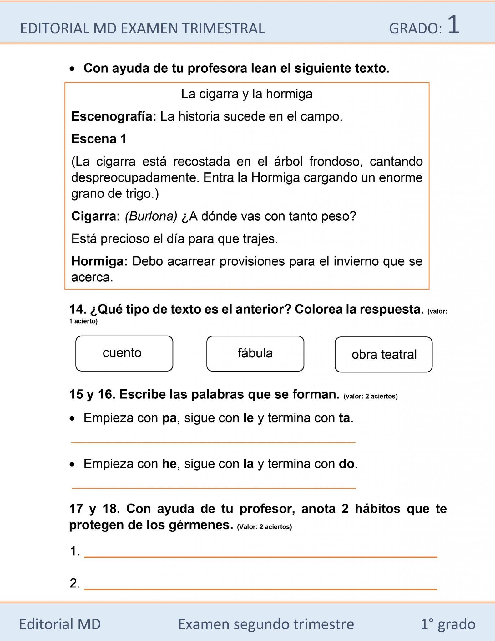 Ejemplo de los Exámenes que incluye el primer grado de Primaria 04