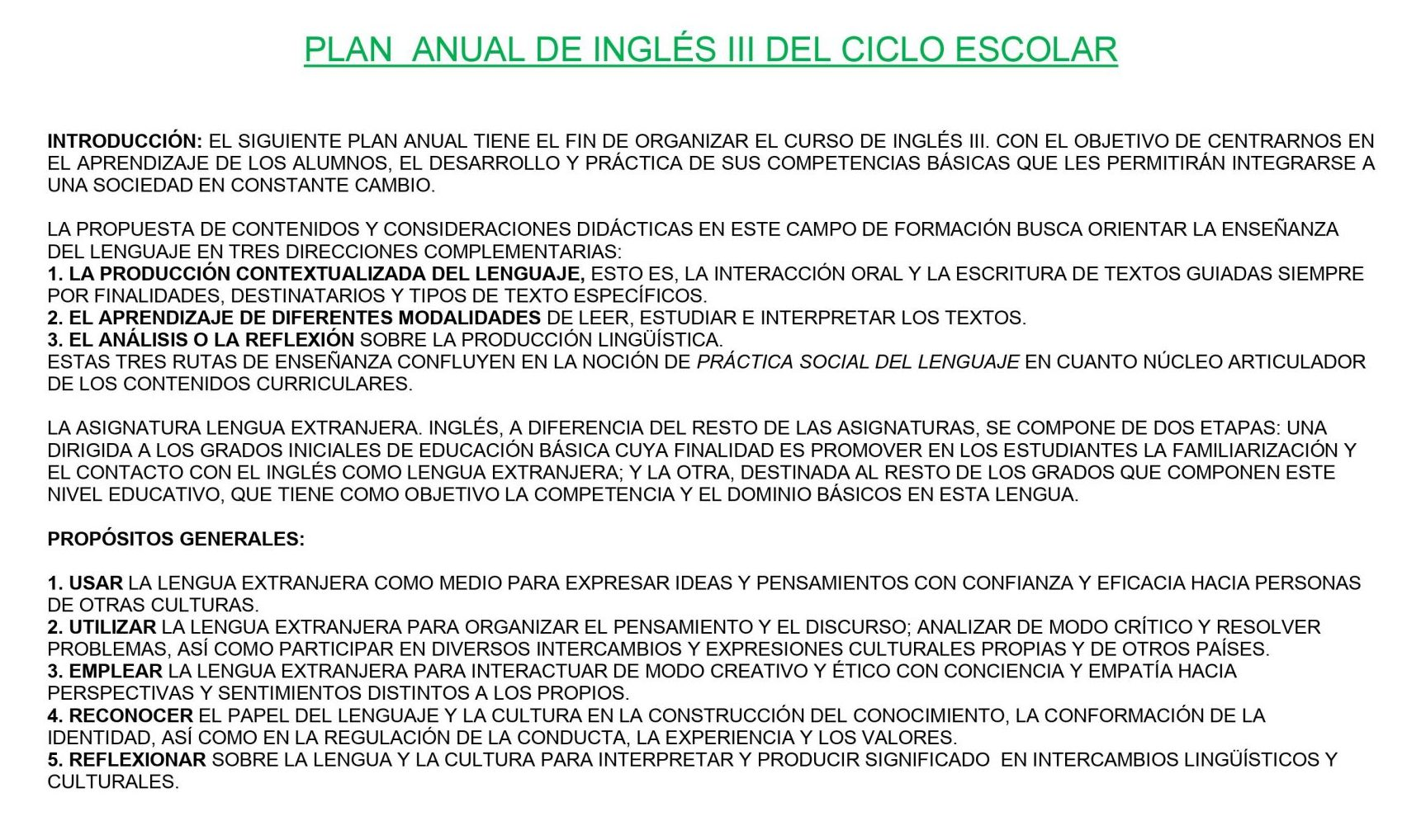 Ejemplo de planeación de Inglés Secundaria 3 01