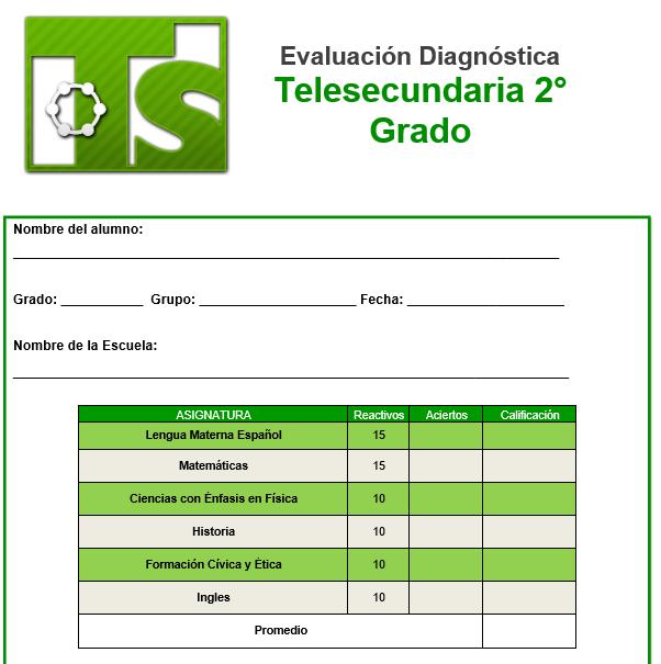evaluacion diagnostica 2 grado de telesecundaria 2021-2022