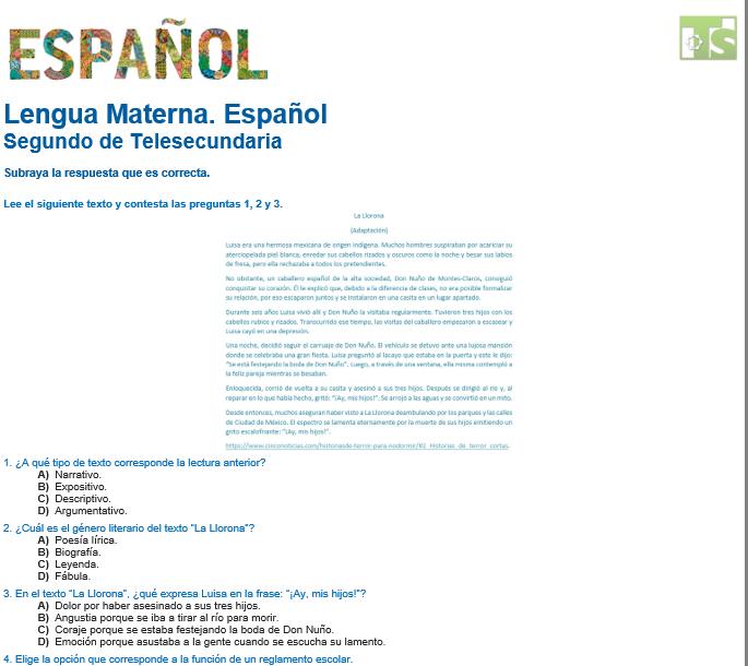 evaluacion diagnostica de español telesecundaria 2021-2022