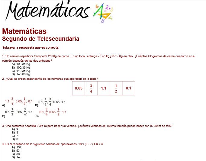 evaluacion diagnostica de matemáticas telesecundaria 2 grado