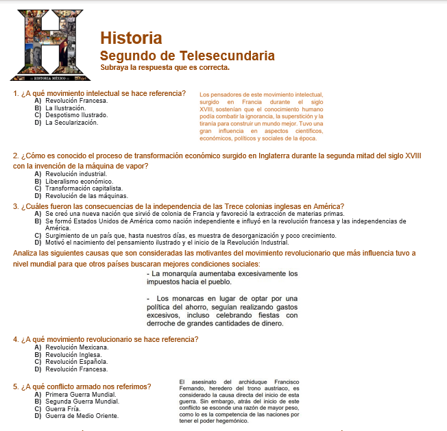 evaluacion diagnostica de historia telesecundaria 2 grado ciclo 2021-2022