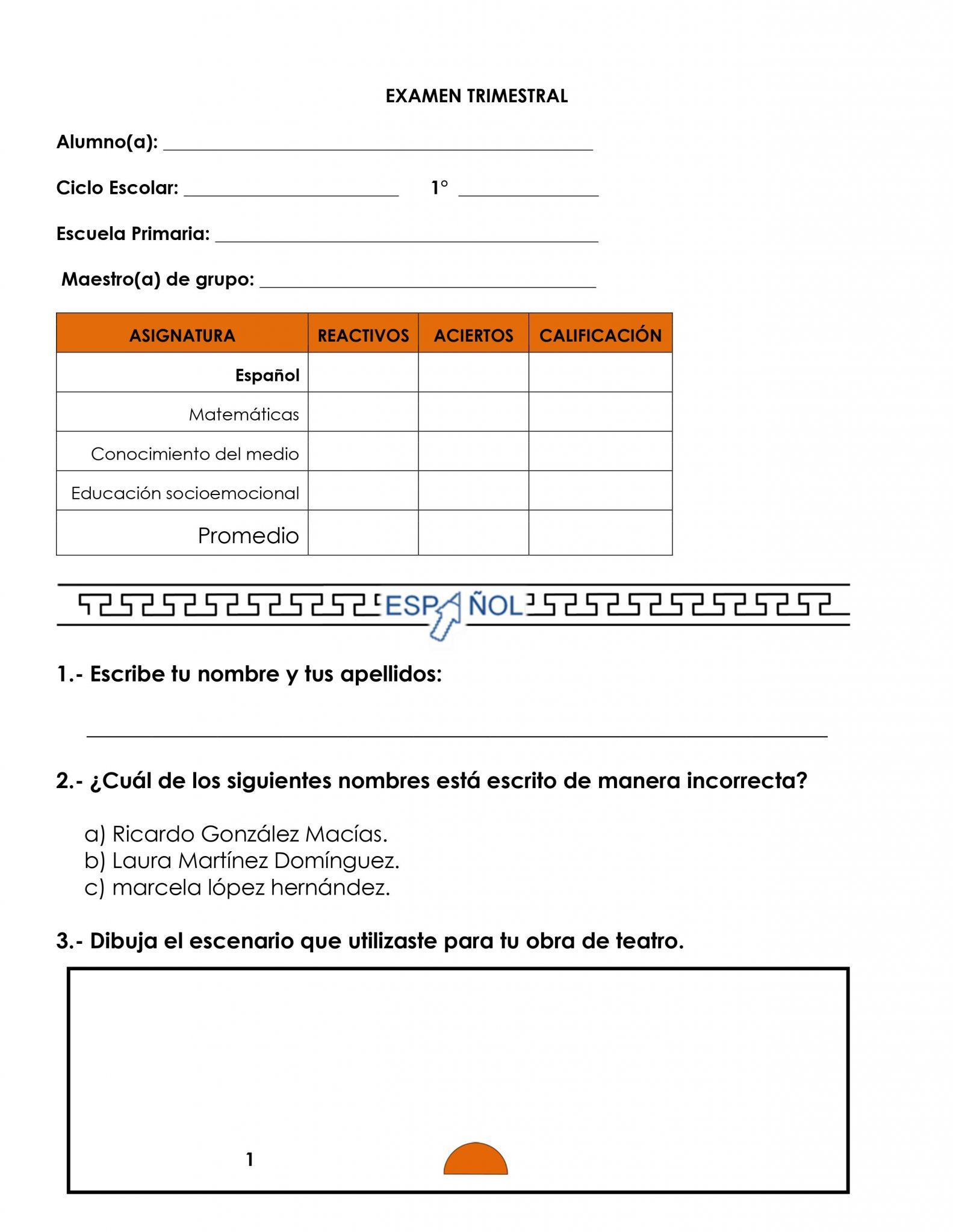 Ejemplo examen 1er grado 01