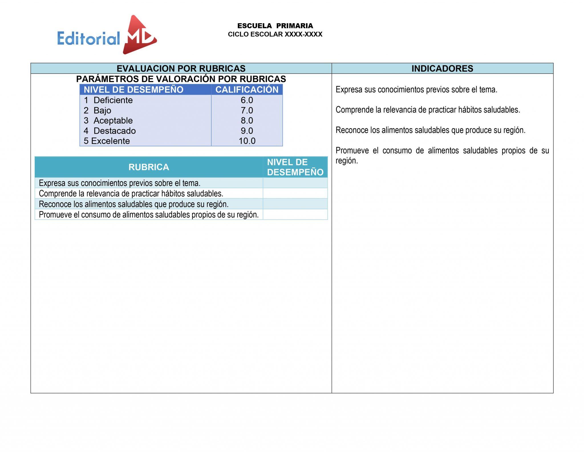 evaluacion por rubricas plan de trabajo semana 35 del 24 al 28 de Mayo