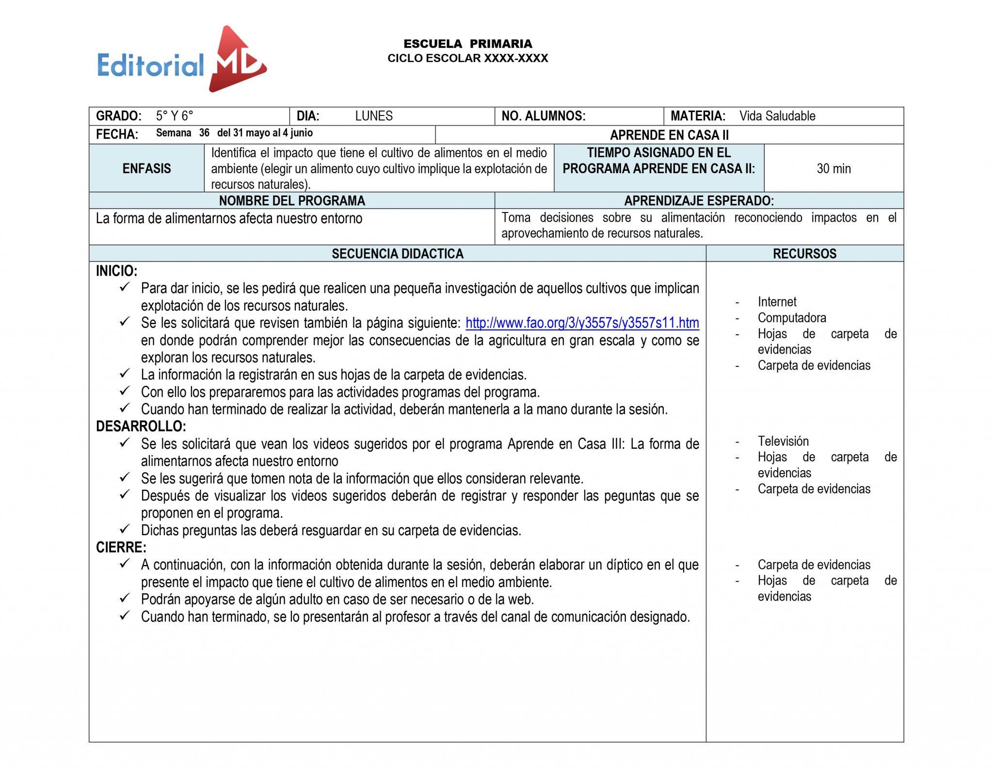 Ejemplo plan de trabajo semana 36del 31 de Mayo al 4 de junio del 2021 01
