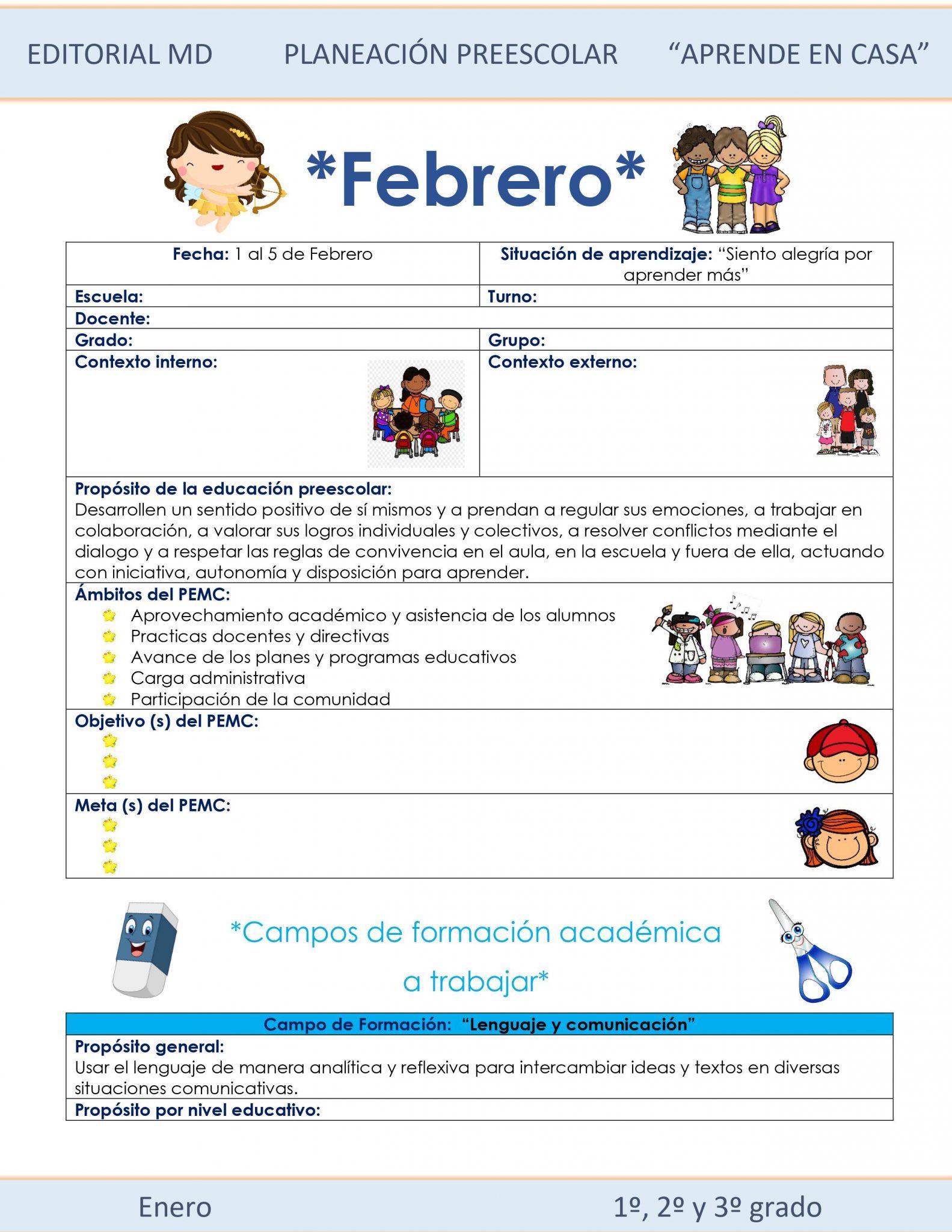 Ejemplo planeación Preescolar del 1 al 5 de Febrero del 2021 01