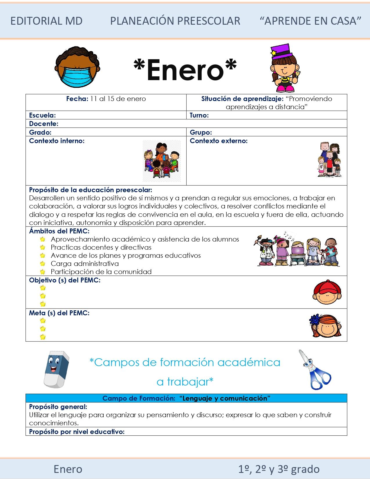 Ejemplo planeación Preescolar del 11 al 15 de enero 2021