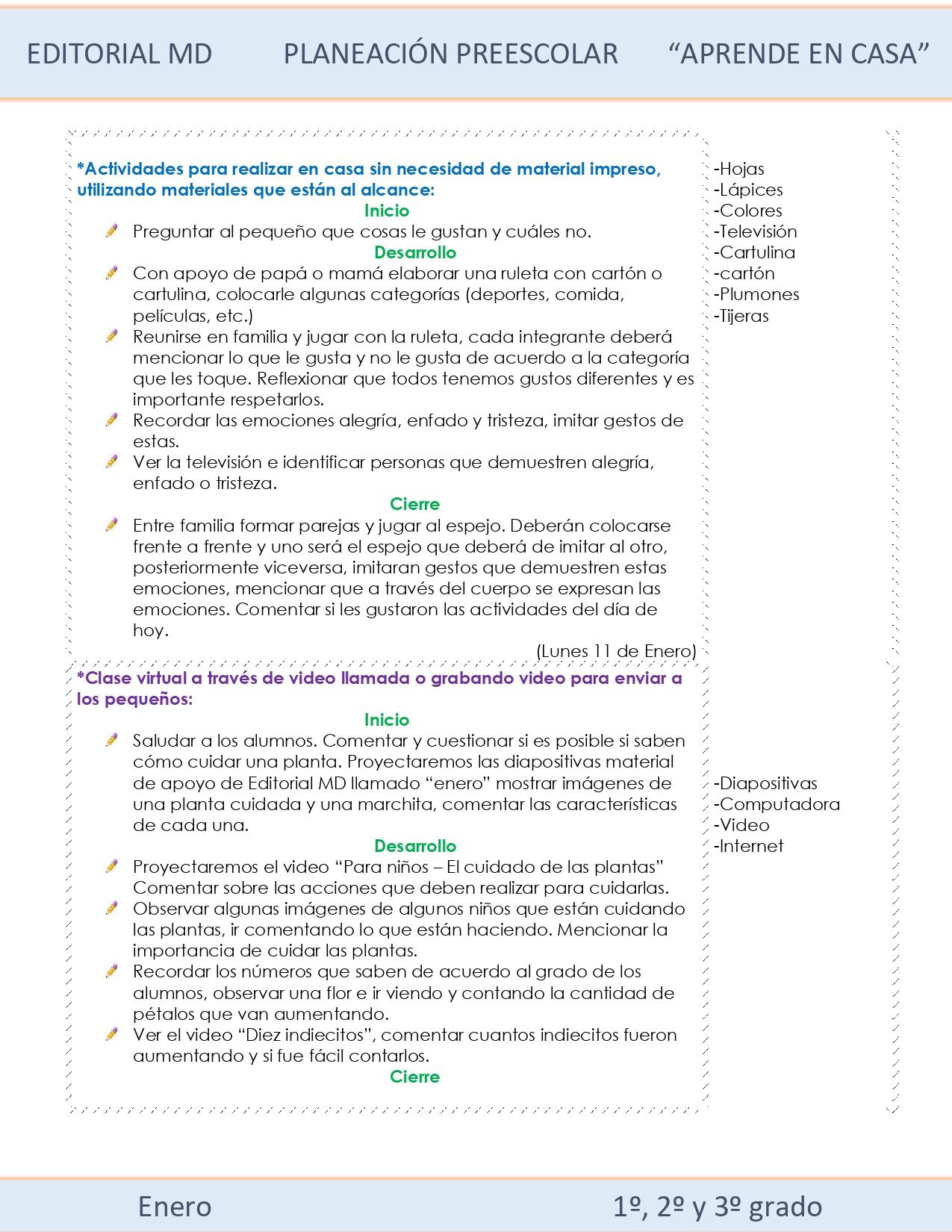 Ejemplo planeación Preescolar del 11 al 15 de enero 2021 semana 18