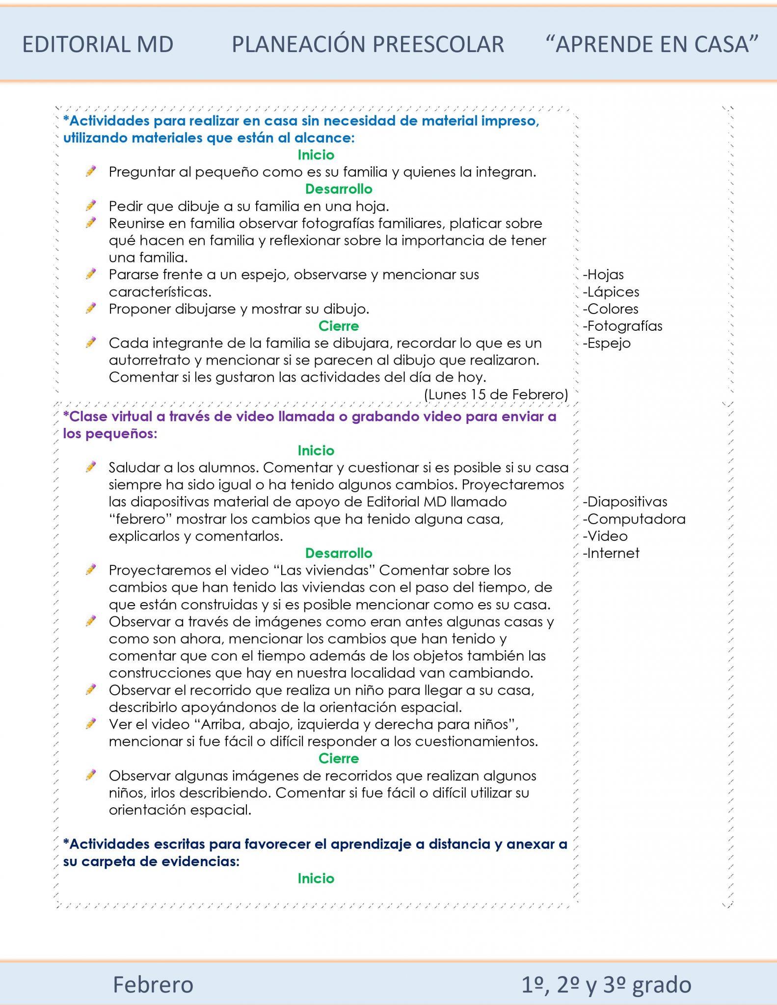 Ejemplo planeación Preescolar del 15 al 18 de Febrero del 2021 02
